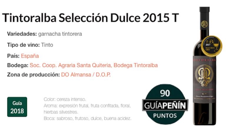90 Points Peñín Tintoralba Dulce Selection 2015