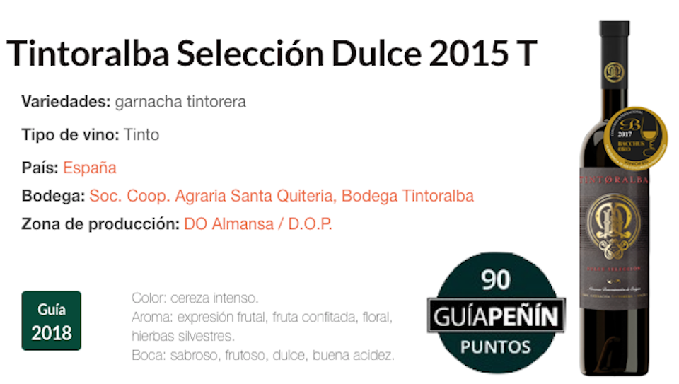 90 puntos Tintoralba Selección