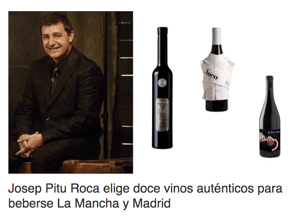 Josep Pitu Roca chooses Tintoralba Dulce Selección among the twelve Authentic Wines to drink La Mancha and Madrid