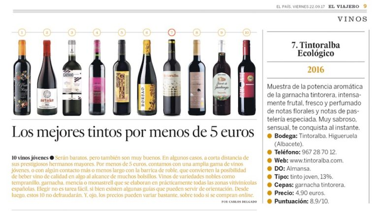 Tintoralba Organic in El País – Among the best value for money wines