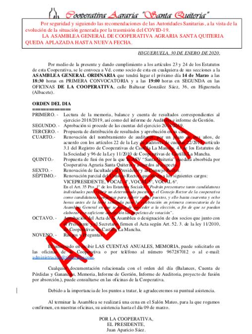 CANCELACIÓN DE LA ASAMBLEA GENERAL DE LA COOPERATIVA