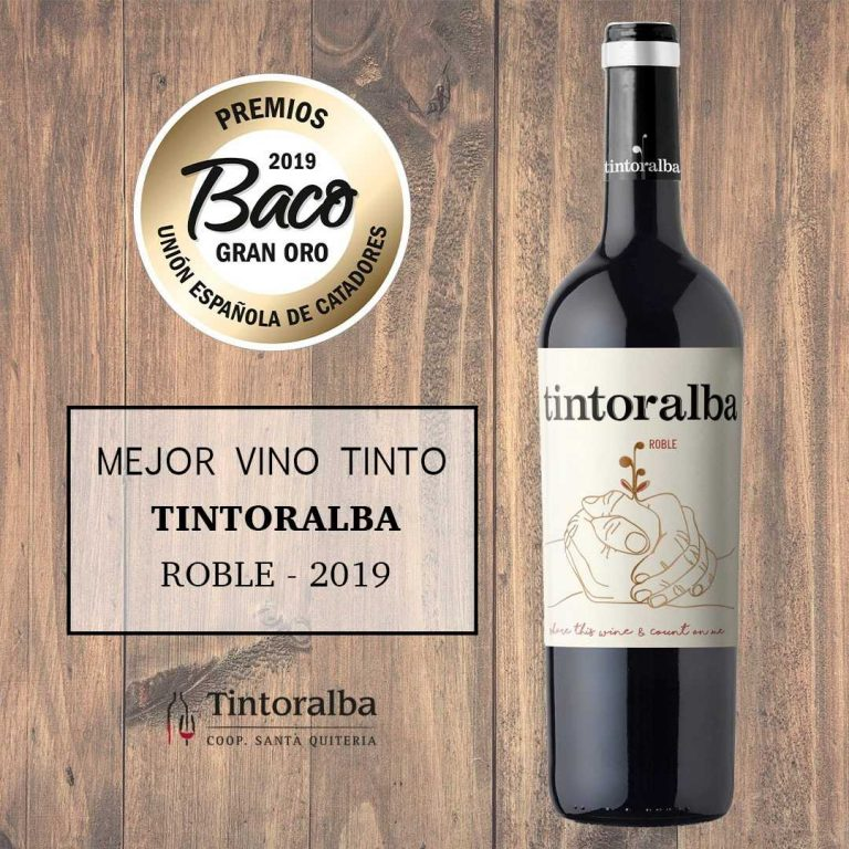 "TINTORALBA ROBLE, AWARDED AS BEST RED WINE AND ""GREAT GOLD BACO"" OF THE BACO AWARDS"